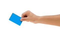 Kreditkort med handen royaltyfri fotografi
