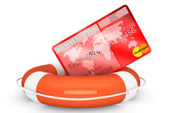 Kreditkort med lifebuoy Arkivfoton