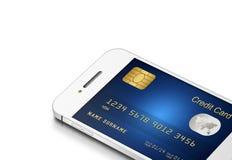 Kreditkort med mobiltelefonen på vit Royaltyfri Foto