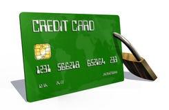 Kreditkort med säkerhetslåset Fotografering för Bildbyråer