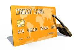 Kreditkort med säkerhetslåset Arkivfoton