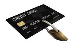 Kreditkort med säkerhetslåset Arkivbilder