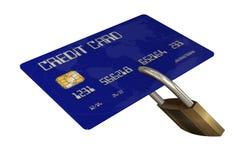 Kreditkort med säkerhetslåset Royaltyfri Fotografi