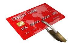 Kreditkort med säkerhetslåset Royaltyfri Bild