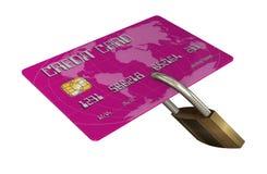 Kreditkort med säkerhetslåset Royaltyfria Foton