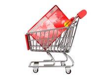Kreditkort med shoppingvagnen Arkivbilder