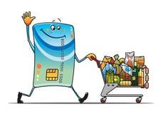 Kreditkort med shoppingvagnen Arkivbild