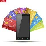 Kreditkort och mobiltelefon också vektor för coreldrawillustration Arkivfoto