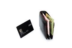 Kreditkort och plånbok Arkivbild