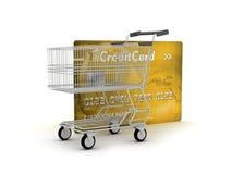 Kreditkort och shoppingvagn Arkivfoton