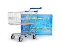 Kreditkort och shoppingvagn Fotografering för Bildbyråer
