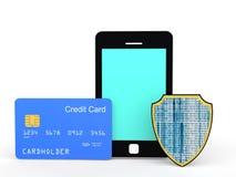 kreditkort och sköld för mobiltelefon 3d Arkivfoton