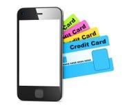 Kreditkort och Smart telefon Arkivfoton
