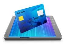 Kreditkort och tablet Arkivfoton