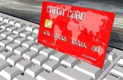 Kreditkort på closeupen för datortangentbord Royaltyfri Fotografi