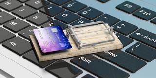 Kreditkort på en musfälla, bakgrund för datortangentbord illustration 3d Royaltyfri Bild