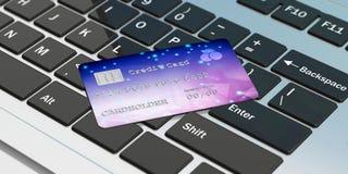 Kreditkort på ett datortangentbord för online-shopping illustration 3d Arkivbild