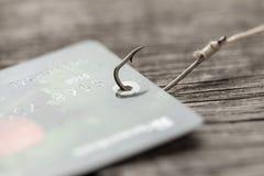 Kreditkort p? fiskekroken Kreditering med trick eller gömda betalningar Online-bedr?geri royaltyfria bilder
