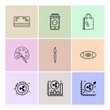 kreditkort shoppingpåse, målarfärg, borste, rugby, graf, eps vektor illustrationer