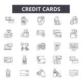 Kreditkortar fodrar symboler, tecken, vektoruppsättningen, översiktsillustrationbegrepp vektor illustrationer