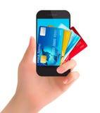 Kreditkortar i en telefon. Internetbankrörelsebegrepp. stock illustrationer