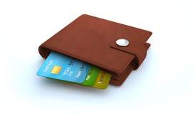 Kreditkortar i läderplånbok på vit bakgrund Fotografering för Bildbyråer