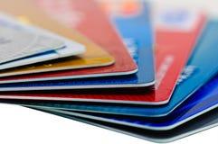 Kreditkortar och som en bakgrund. Royaltyfria Foton