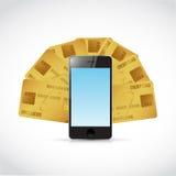 Kreditkortar runt om en telefon illustration Arkivbild