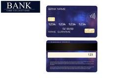 Kreditkortblått som isoleras på vit bakgrund Vektor EPS 10 Detaljerat glansigt kreditkortbegrepp Abstrakt design för affär, Fotografering för Bildbyråer