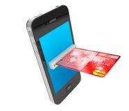 Kreditkorten och mobilen ringer stock illustrationer