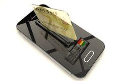 Kreditkorten och mobilen ringer Royaltyfri Foto