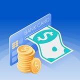 Kreditkorten, pappers- dollar, bunt av mynt Isometriskt begrepp royaltyfri illustrationer