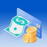 Kreditkorten, pappers- dollar, hög av mynt Isometrisk vektor vektor illustrationer