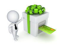 Kreditkorten som sätts in i en gåva, boxas. Arkivfoto