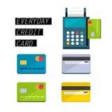 Kreditkortmaskiner med kortet - Fotografering för Bildbyråer