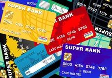 Kreditkortskuld med kontokortet Stock Illustrationer