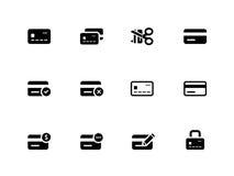 Kreditkortsymboler på vit bakgrund. Royaltyfri Foto