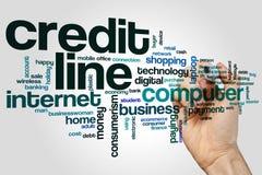 Kreditrahmenwort-Wolkenkonzept auf grauem Hintergrund Stockbild
