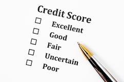 Kreditscoreform stockfotos