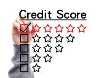 Kreditscorekonzept stockbilder