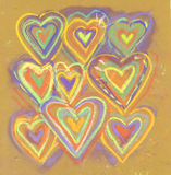 Kredkowa ręka rysująca abstrakcjonistyczna valentines karta ornamentu geometryczne tła księgi stary rocznik walentynka tła piękna Fotografia Royalty Free
