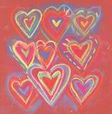 Kredkowego koloru grunge valentine abstrakcjonistyczni serca Zdjęcia Royalty Free