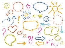Kredkowego rysunku mowa gulgocze, strzała, kierowy kształt, uśmiech, znak, symbolu śmieszny set ilustracja wektor