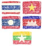 Kredkowy remis południowo-wschodni Azja kraju flaga ilustracja wektor