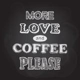 Kredowej deski imitacja z literowania ` Więcej kawa i miłość, zadawala ` royalty ilustracja
