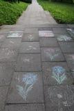 Kredowi rysunki na chodniczku Ścieżka iść perspektywa Zdjęcie Royalty Free