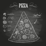 Kredowi rysunki Pizza Zdjęcie Royalty Free