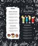 Kredowy drawning Bożenarodzeniowy menu projekt Zima projekta szablon dla kawiarni, restauracja Jedzenie, napoje i wakacji element ilustracji