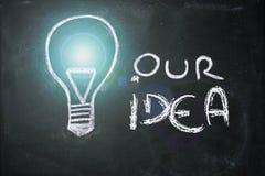Kredowy projekt z lightbulb, biznesowy pomysł obraz royalty free