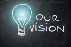 Kredowy projekt z lightbulb, biznesowy wzrok Zdjęcia Stock